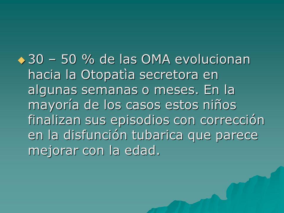 30 – 50 % de las OMA evolucionan hacia la Otopatìa secretora en algunas semanas o meses.