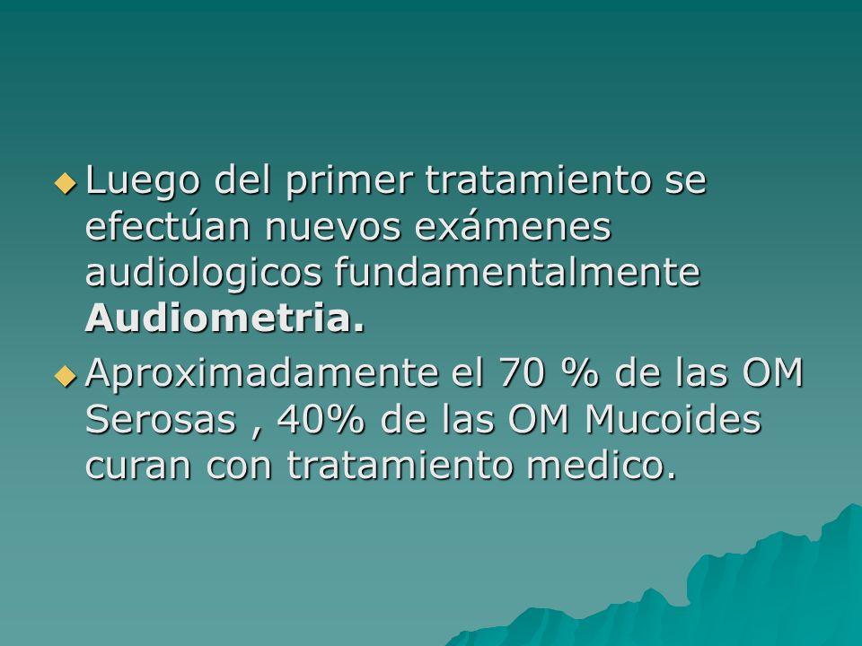 Luego del primer tratamiento se efectúan nuevos exámenes audiologicos fundamentalmente Audiometria.