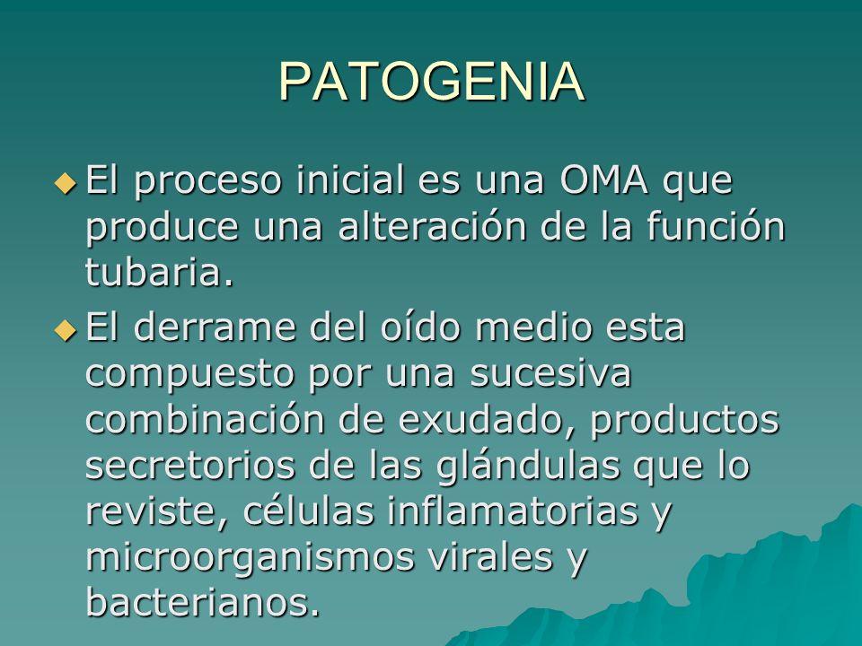 PATOGENIA El proceso inicial es una OMA que produce una alteración de la función tubaria.