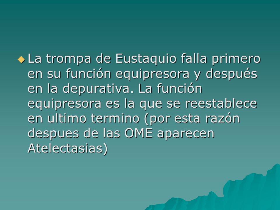 La trompa de Eustaquio falla primero en su función equipresora y después en la depurativa.