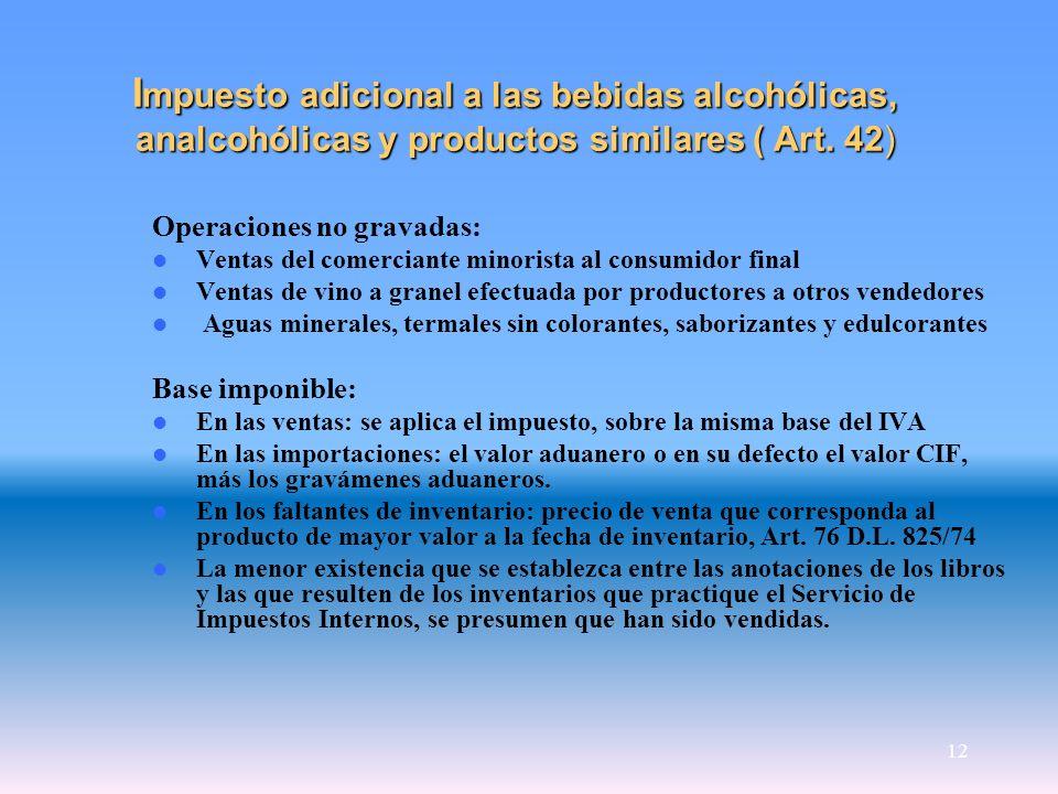 Impuesto adicional a las bebidas alcohólicas, analcohólicas y productos similares ( Art. 42)