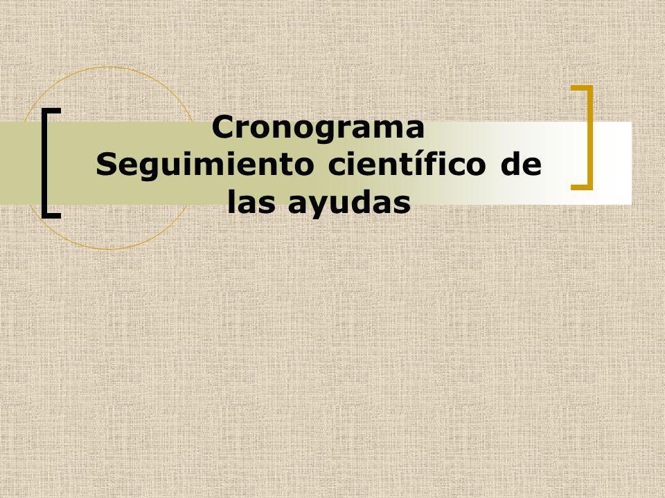 Cronograma Seguimiento científico de las ayudas