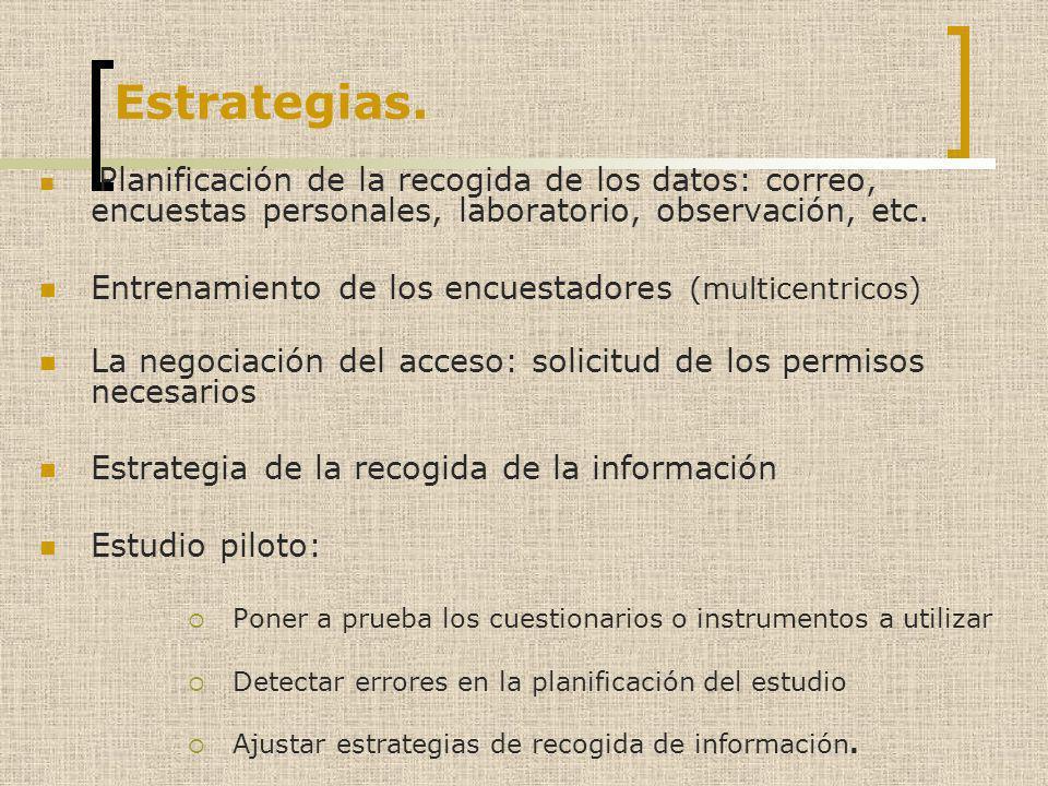 Estrategias. Entrenamiento de los encuestadores (multicentricos)