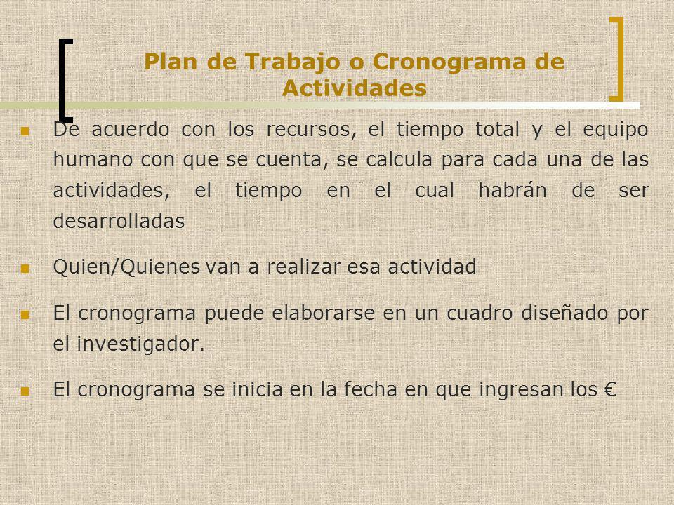 Plan de Trabajo o Cronograma de Actividades