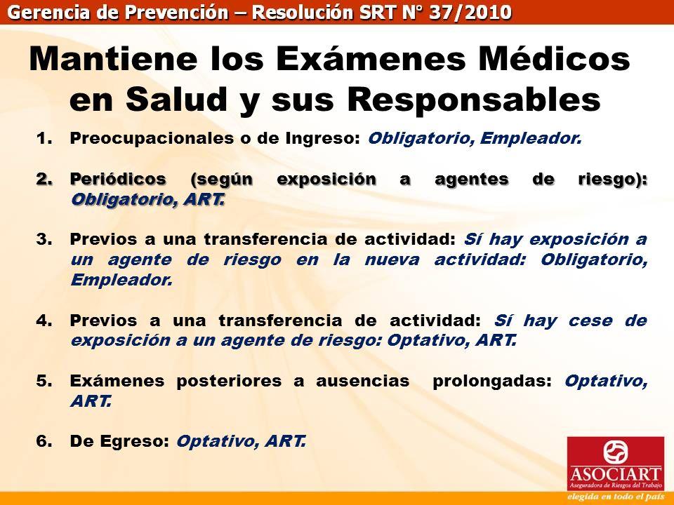Mantiene los Exámenes Médicos en Salud y sus Responsables