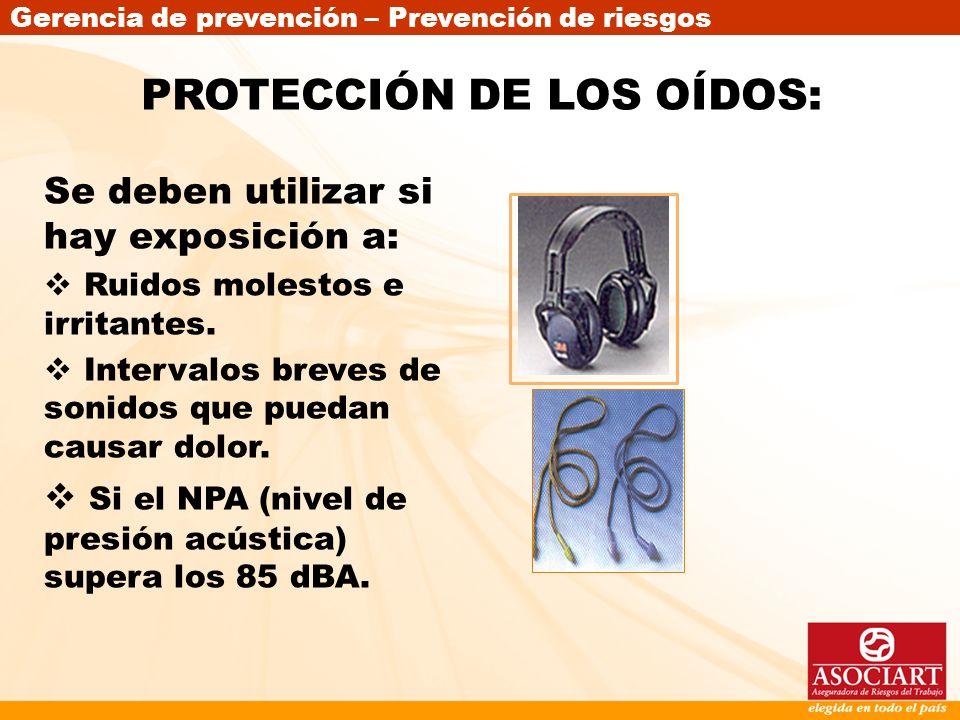 PROTECCIÓN DE LOS OÍDOS:
