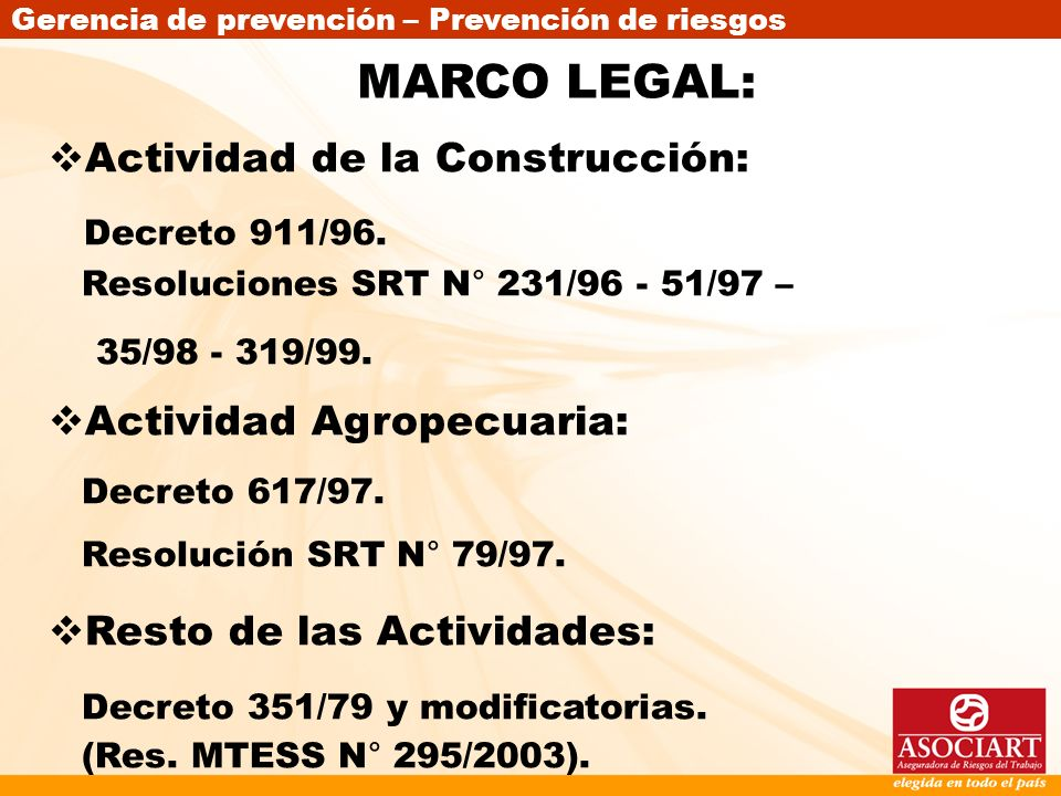 MARCO LEGAL: Actividad de la Construcción: Actividad Agropecuaria:
