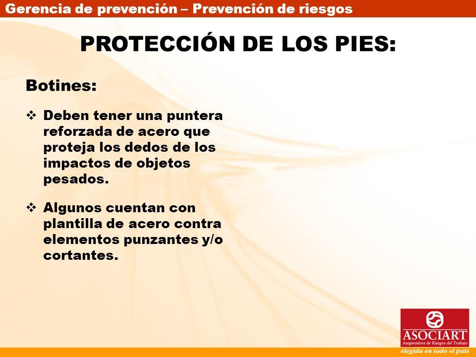 PROTECCIÓN DE LOS PIES: