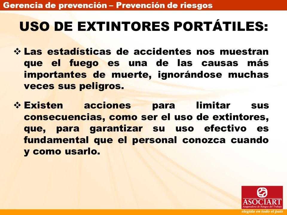 USO DE EXTINTORES PORTÁTILES: