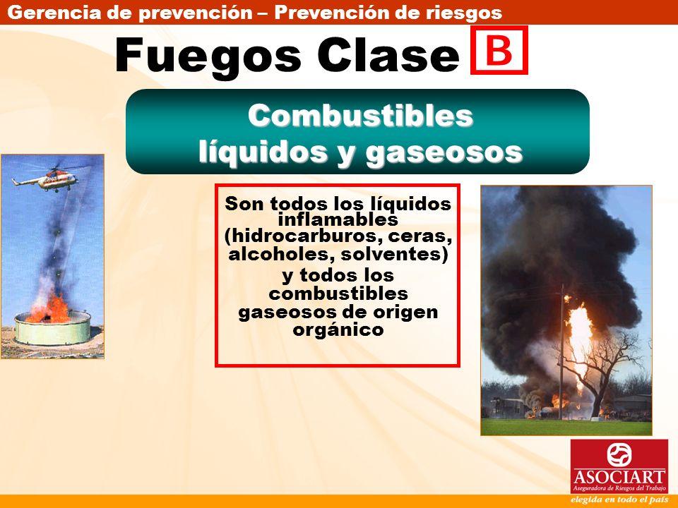 Fuegos Clase Combustibles líquidos y gaseosos