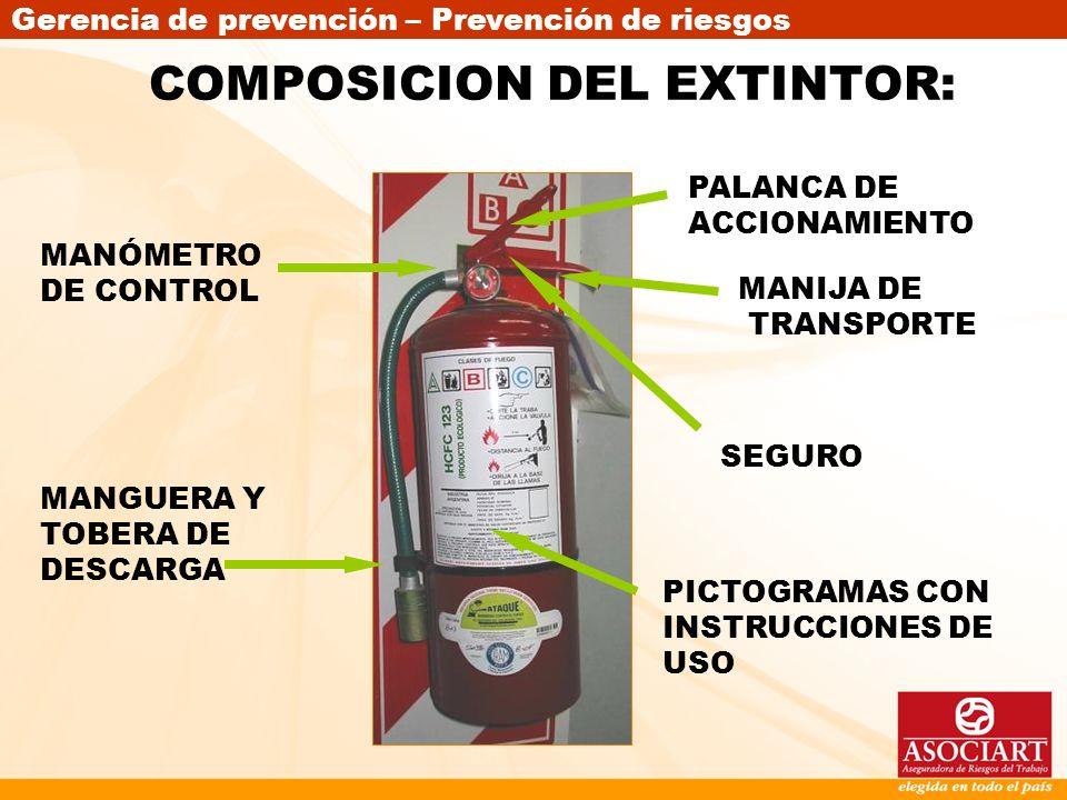 COMPOSICION DEL EXTINTOR: