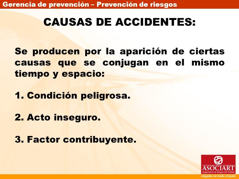 CAUSAS DE ACCIDENTES:Se producen por la aparición de ciertas causas que se conjugan en el mismo tiempo y espacio: