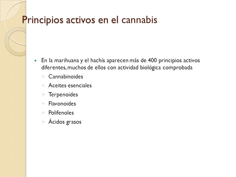 Principios activos en el cannabis