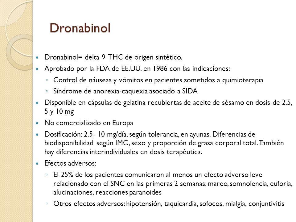 Dronabinol Dronabinol= delta-9-THC de origen sintético.