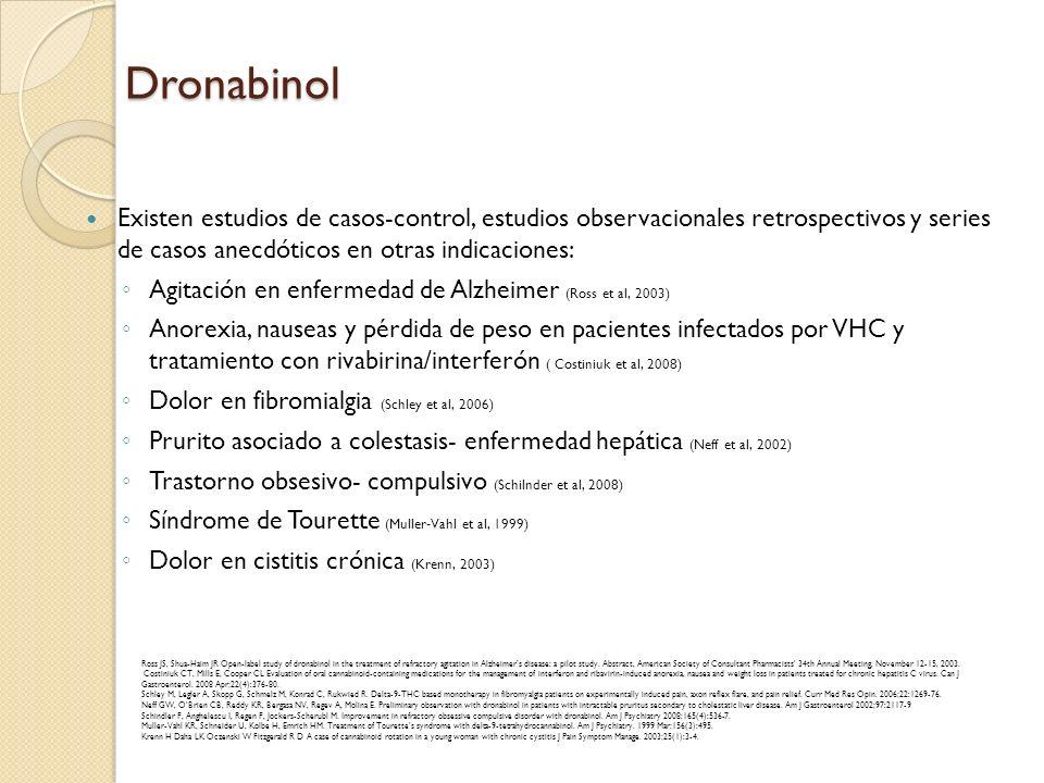 DronabinolExisten estudios de casos-control, estudios observacionales retrospectivos y series de casos anecdóticos en otras indicaciones: