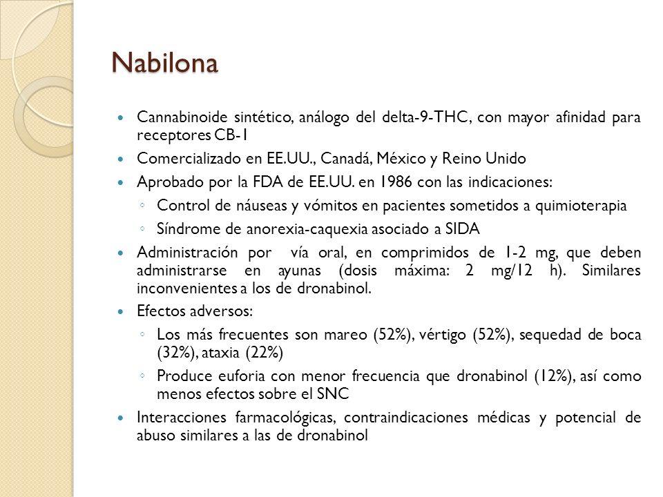 Nabilona Cannabinoide sintético, análogo del delta-9-THC, con mayor afinidad para receptores CB-1.