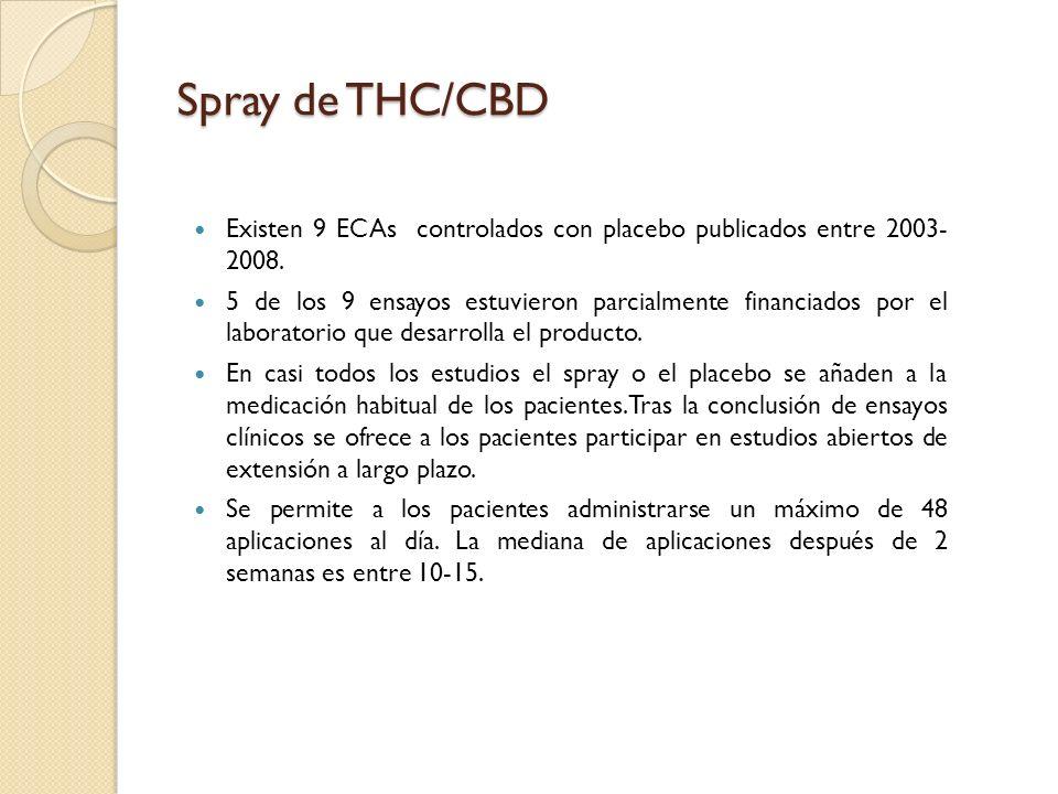 Spray de THC/CBDExisten 9 ECAs controlados con placebo publicados entre 2003- 2008.