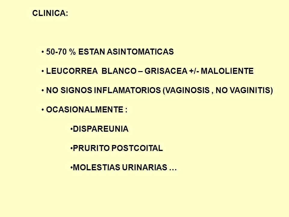 CLINICA: 50-70 % ESTAN ASINTOMATICAS. LEUCORREA BLANCO – GRISACEA +/- MALOLIENTE. NO SIGNOS INFLAMATORIOS (VAGINOSIS , NO VAGINITIS)