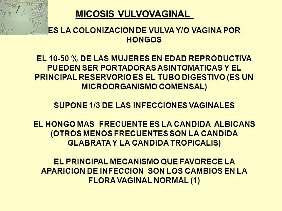 MICOSIS VULVOVAGINAL ES LA COLONIZACION DE VULVA Y/O VAGINA POR HONGOS