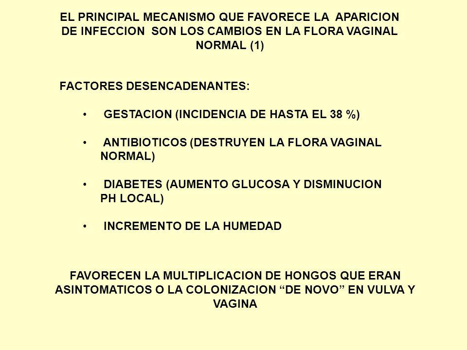 EL PRINCIPAL MECANISMO QUE FAVORECE LA APARICION DE INFECCION SON LOS CAMBIOS EN LA FLORA VAGINAL NORMAL (1)