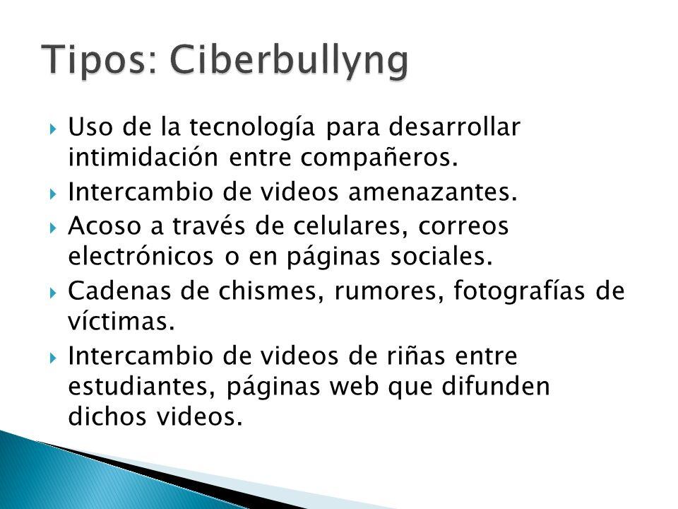 Tipos: Ciberbullyng Uso de la tecnología para desarrollar intimidación entre compañeros. Intercambio de videos amenazantes.