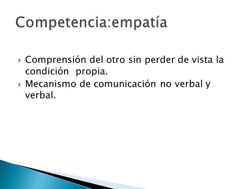 Competencia:empatía Comprensión del otro sin perder de vista la condición propia.