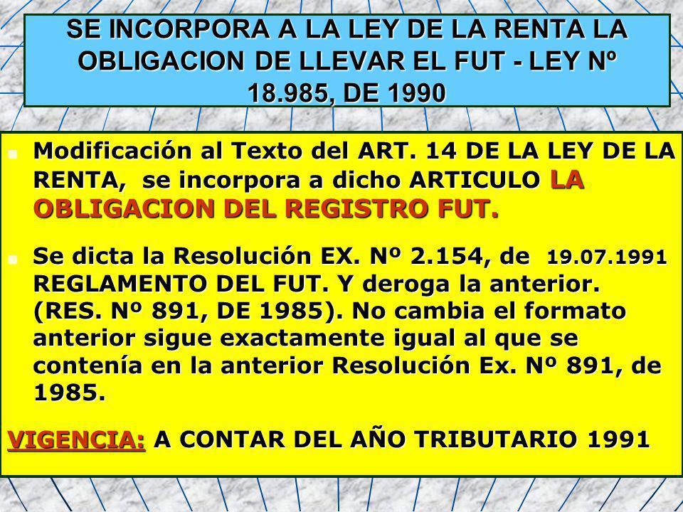SE INCORPORA A LA LEY DE LA RENTA LA OBLIGACION DE LLEVAR EL FUT - LEY Nº 18.985, DE 1990