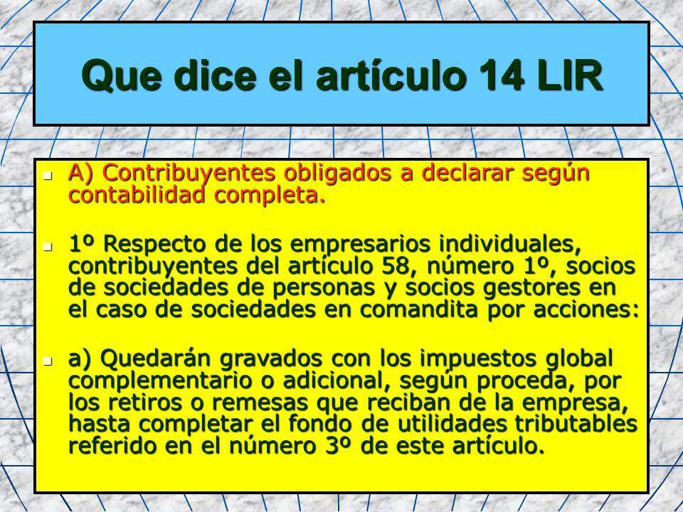 Que dice el artículo 14 LIR