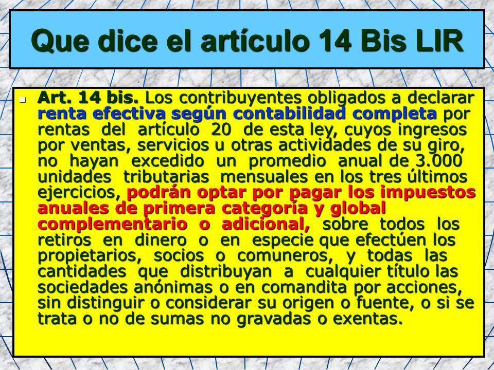 Que dice el artículo 14 Bis LIR