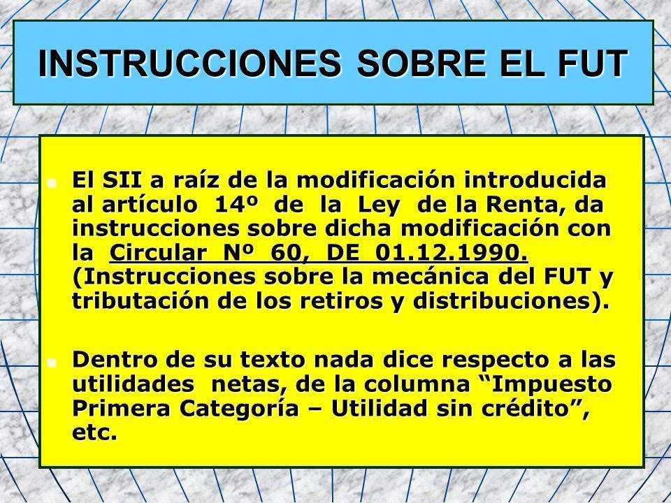 INSTRUCCIONES SOBRE EL FUT