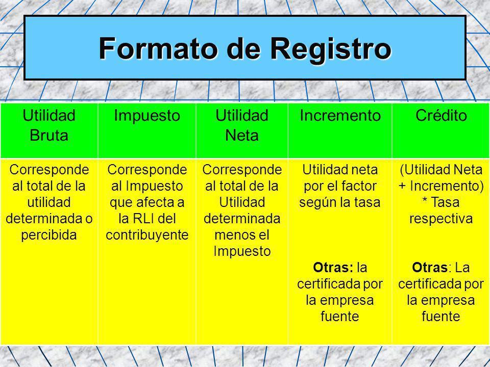 Formato de Registro Utilidad Bruta Impuesto Utilidad Neta Incremento