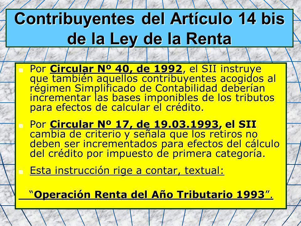 Contribuyentes del Artículo 14 bis de la Ley de la Renta