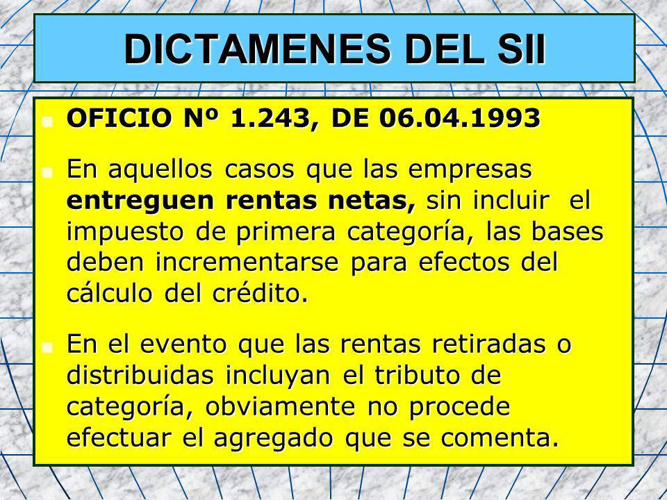 DICTAMENES DEL SII OFICIO Nº 1.243, DE 06.04.1993