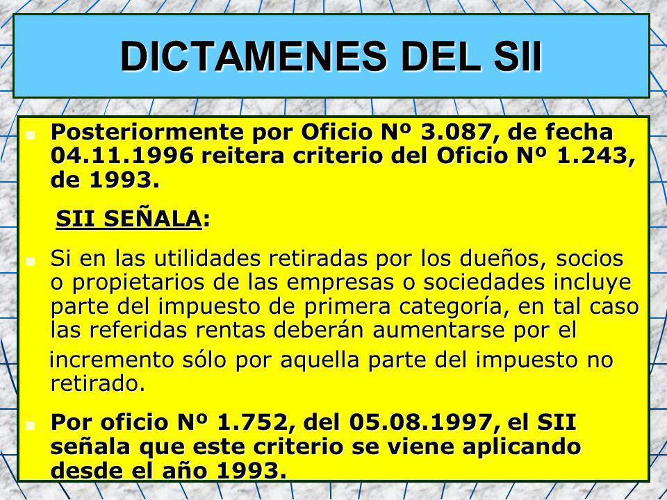 DICTAMENES DEL SII Posteriormente por Oficio Nº 3.087, de fecha 04.11.1996 reitera criterio del Oficio Nº 1.243, de 1993.