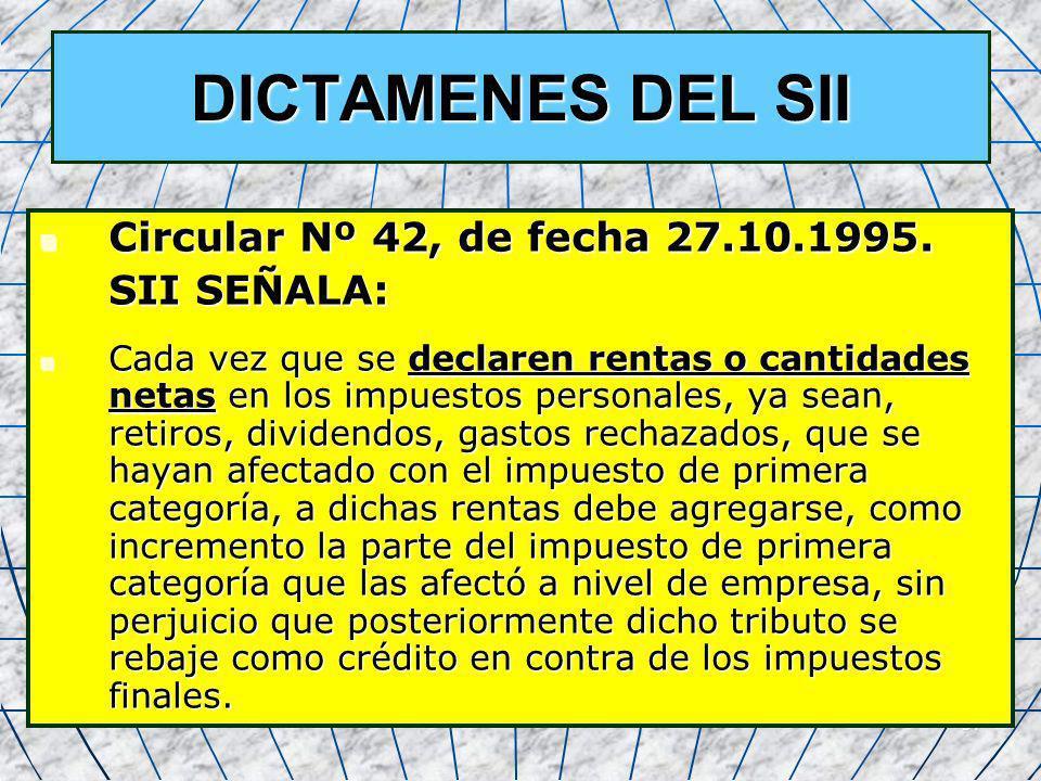 DICTAMENES DEL SII Circular Nº 42, de fecha 27.10.1995. SII SEÑALA: