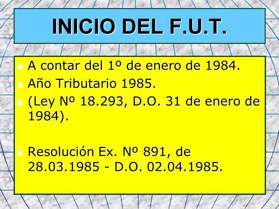 INICIO DEL F.U.T. A contar del 1º de enero de 1984.