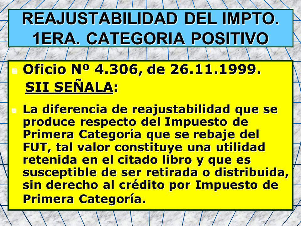 REAJUSTABILIDAD DEL IMPTO. 1ERA. CATEGORIA POSITIVO