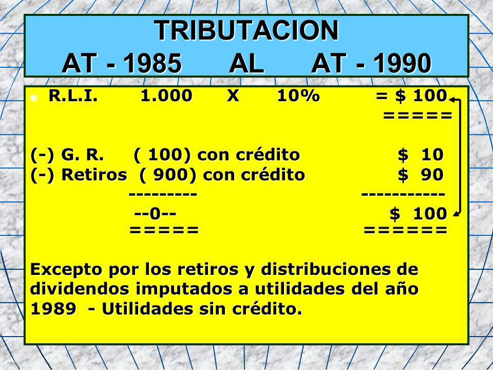 TRIBUTACION AT - 1985 AL AT - 1990 R.L.I. 1.000 X 10% = $ 100 =====