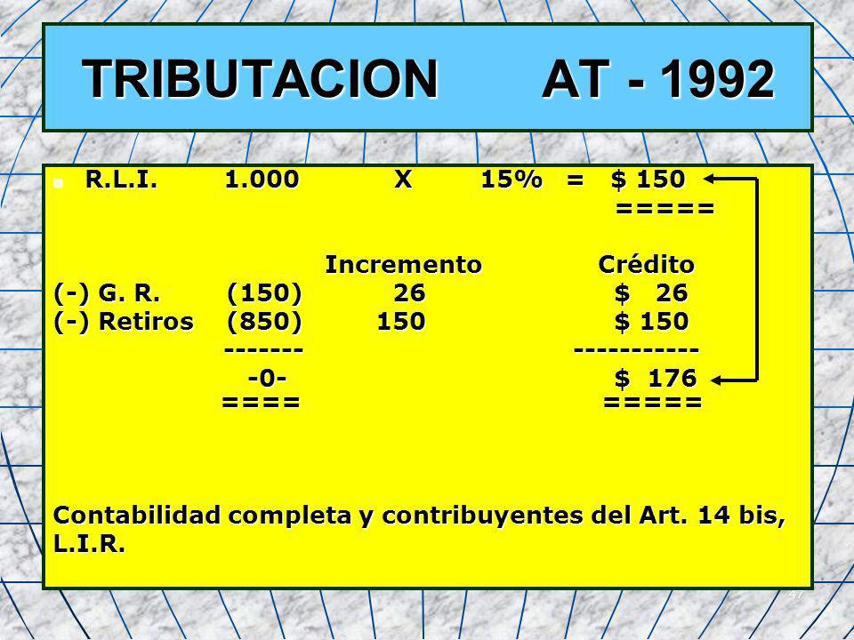 TRIBUTACION AT - 1992 R.L.I. 1.000 X 15% = $ 150 =====