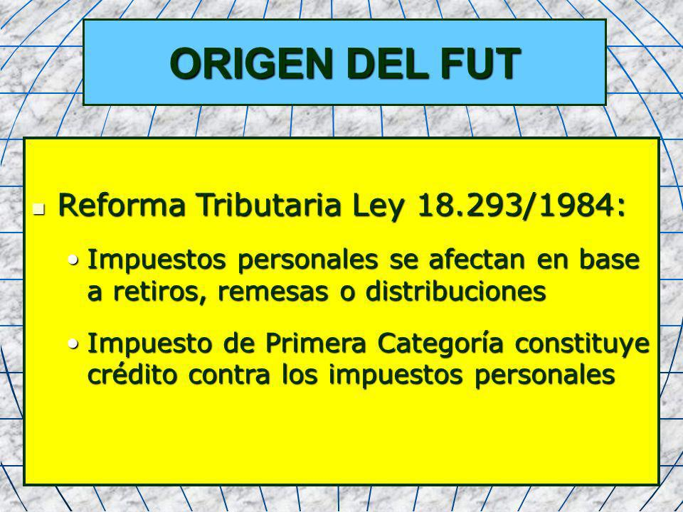 ORIGEN DEL FUT Reforma Tributaria Ley 18.293/1984: