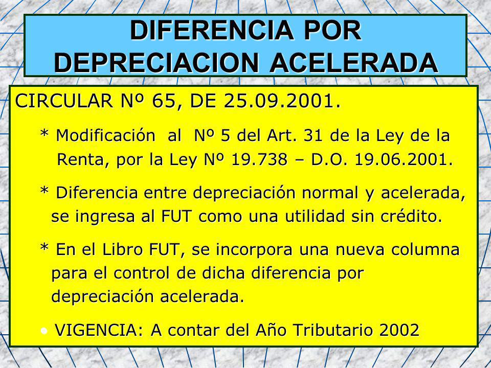 DIFERENCIA POR DEPRECIACION ACELERADA