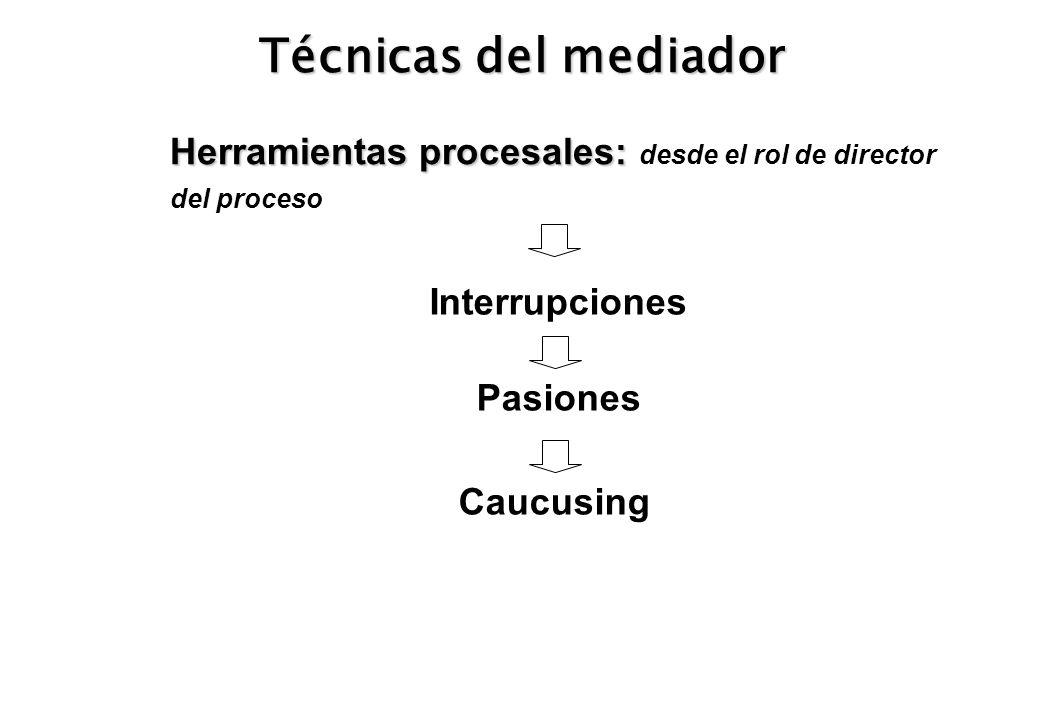 Técnicas del mediador Herramientas procesales: desde el rol de director del proceso. Interrupciones.