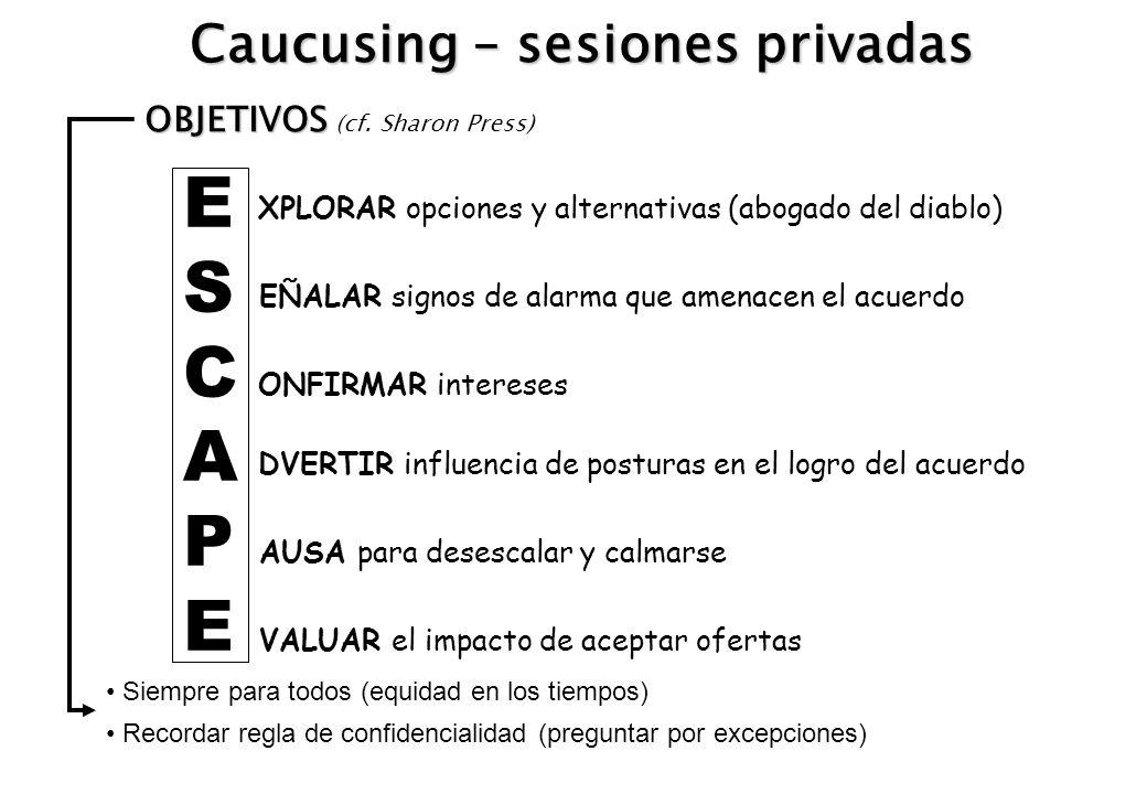 Caucusing – sesiones privadas