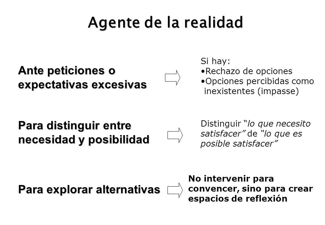 Agente de la realidad Ante peticiones o expectativas excesivas