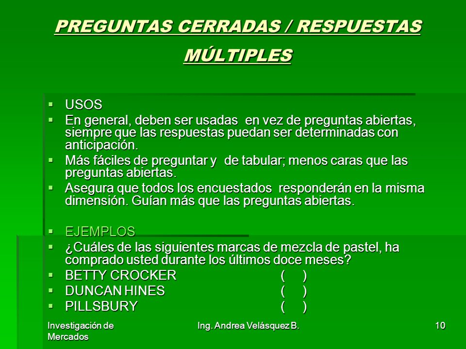 PREGUNTAS CERRADAS / RESPUESTAS MÚLTIPLES