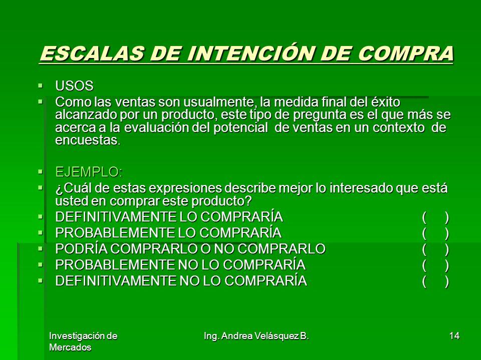 ESCALAS DE INTENCIÓN DE COMPRA