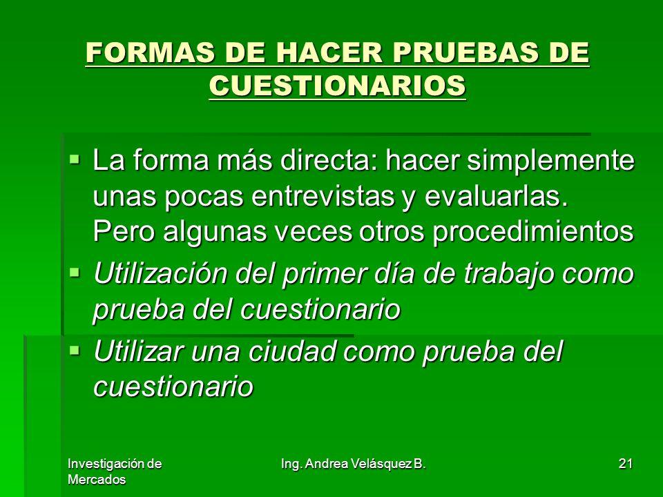 FORMAS DE HACER PRUEBAS DE CUESTIONARIOS