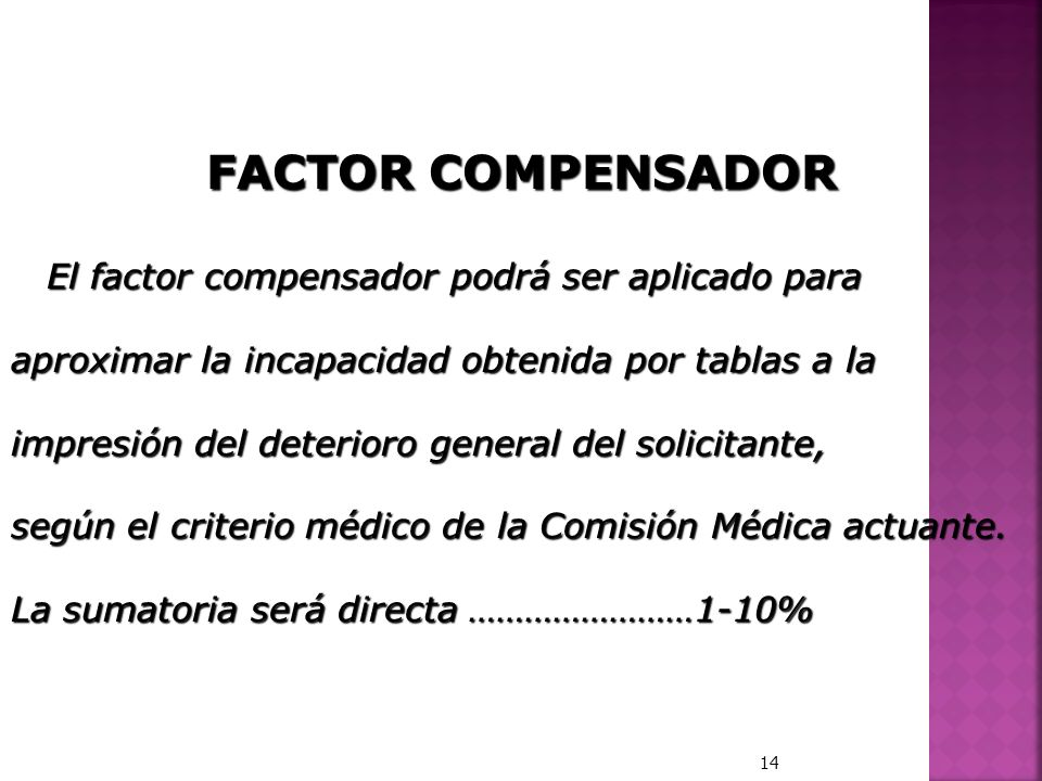 FACTOR COMPENSADOR El factor compensador podrá ser aplicado para