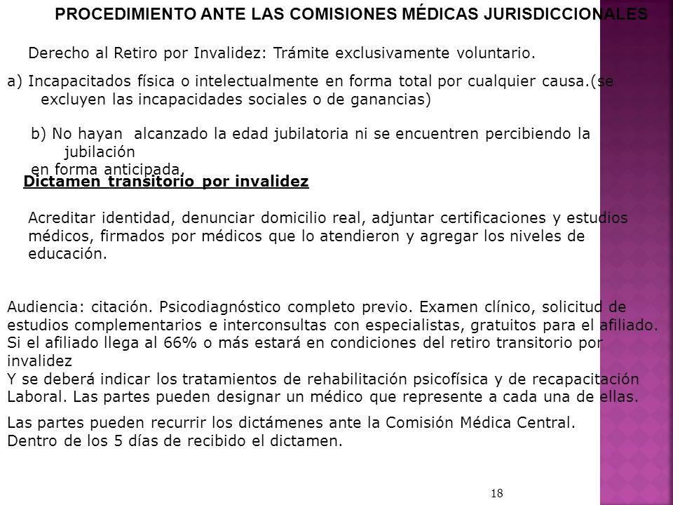 PROCEDIMIENTO ANTE LAS COMISIONES MÉDICAS JURISDICCIONALES