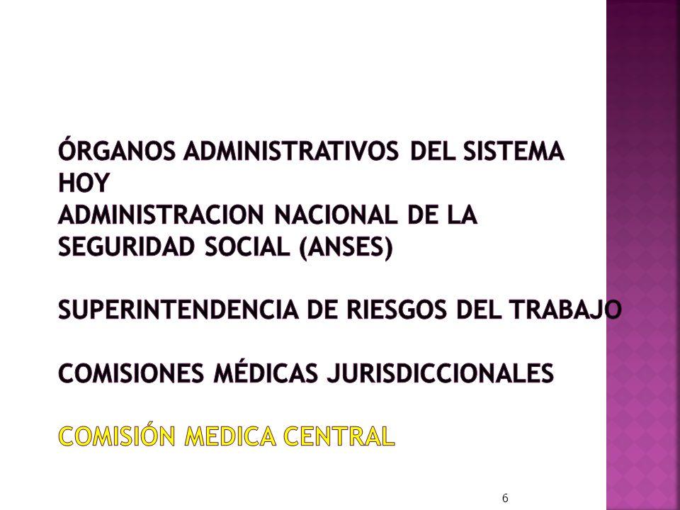ÓRGANOS ADMINISTRATIVOS DEL SISTEMA HOY ADMINISTRACION NACIONAL DE LA SEGURIDAD SOCIAL (ANSES) SUPERINTENDENCIA DE RIESGOS DEL TRABAJO COMISIONES MÉDICAS JURISDICCIONALES COMISIÓN MEDICA CENTRAL